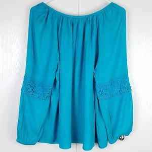 Lilly Pulitzer Tops - Lilly Pulitzer turquoise blue boat neckline top